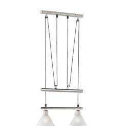 Szeroka lampa wisząca z dwoma szklanymi kloszami Stamina