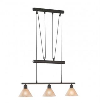 Szeroka lampa wisząca z trzema szklanymi kloszami Stamina