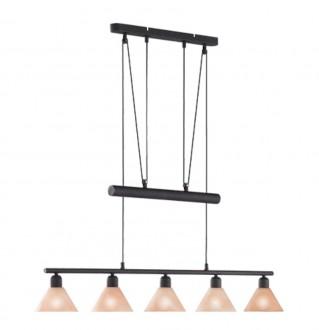 Szeroka lampa pięcioma szklanymi kloszami Stamina miedź