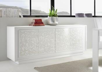 Szeroka komoda Paradise 4 biała z motywem kwiatowym