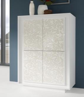 Wysoka komoda Paradise 4 biała z motywem kwiatowym