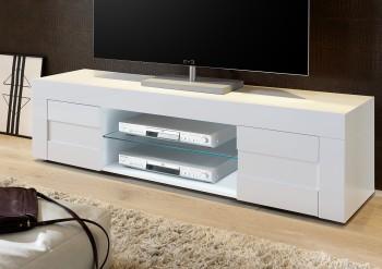Duża szafka RTV biała na wysoki połysk Bonny 2D