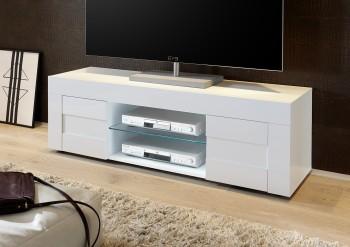 Mała szafka RTV biała na wysoki połysk Bonny 2D