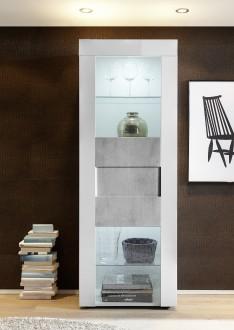 Biała witryna Bonny 1D z optyką betonu
