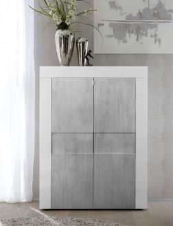 Wysoka biała komoda Bonny 2D z optyką betonu