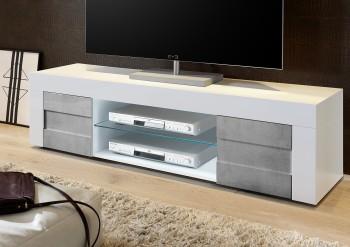 Duża szafka RTV biała Bonny 2D z optyką betonu
