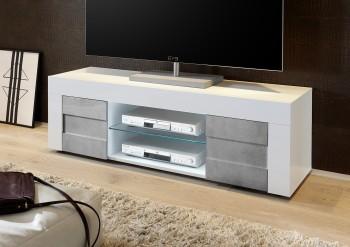 Mała szafka RTV biała Bonny 2D z optyką betonu