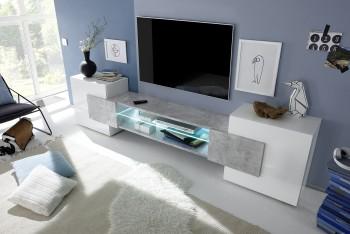 Szeroka szafka RTV Totality biały / beton