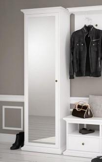 Biała szafa z lustrem i półkami Paris 1D