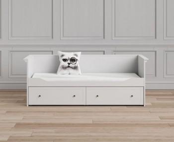 Białe łóżko podwójne z szufladą Paris