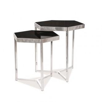 Zestaw dwóch stolików w stylu glamour Milos