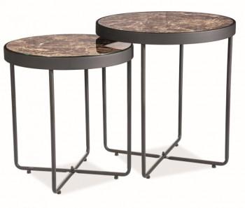 Zestaw dwóch stolików z marmurowym wzorem Manta