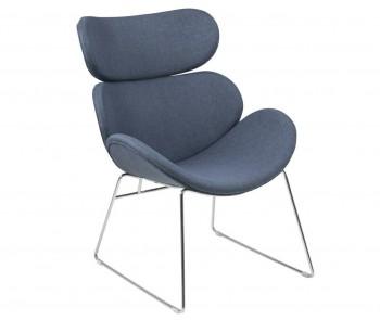 Niebieski fotel z tkaniny Cazar Dark Blue Chrom