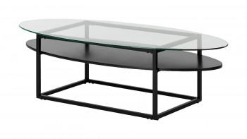 Owalny stolik z półką i szklanym blatem Loke
