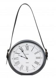 Regulowany zegar ścienny na skórzanym pasku Rustic