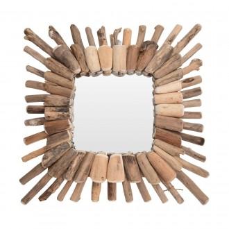 Dekoracyjne lustro w drewnianej ramie Wood Wreath