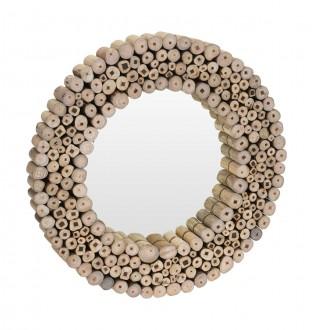 Okrągłe lustro ścienne z drewnianą ramą Moly