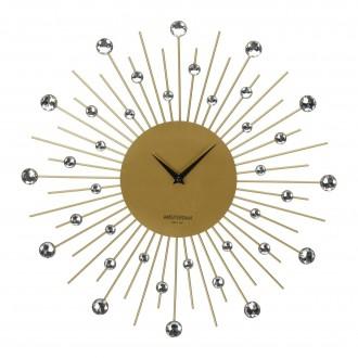 Okrągły zegar ścienny z kryształkami Crystal Gold