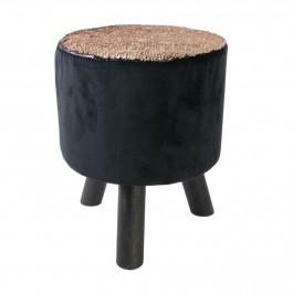Welurowy stołek z cekinowym siedziskiem Sequin