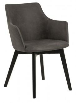 Tapicerowane krzesło z podłokietnikami Bella na czarnych nogach