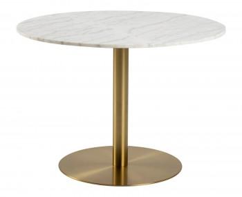 Okrągły stół w imitacji marmuru na złotej nodze Corby