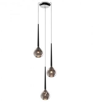 Potrójna lampa srebrna Libra na okrągłej podsufitce