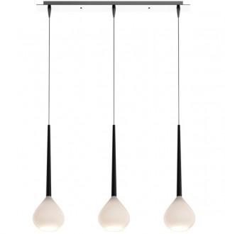 Biała lampa wisząca z trzema szklanymi kloszami Libra