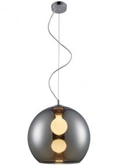 Srebrna lampa wisząca Vero z kulistym kloszem szklanym