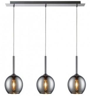 Szeroka lampa wisząca Monic z trzema srebrnymi kloszami