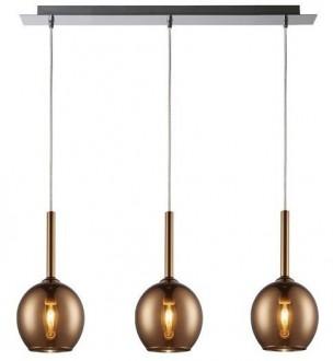 Szeroka lampa wisząca Monic z trzema miedzianymi kloszami