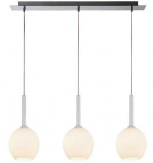 Szeroka lampa wisząca Monic z trzema białymi kloszami