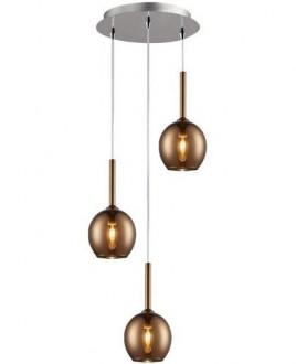 Potrójna lampa wisząca z miedzianymi kloszami Monic