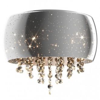 Srebrny plafon szklany Vista 40 z kryształowymi łańcuszkami