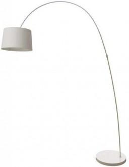 Łukowa lampa podłogowa z kloszem tkaninowym Costanza