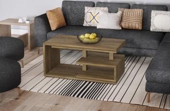 Designerska stolik kawowy z półkami i wysuwanym blatem Sana