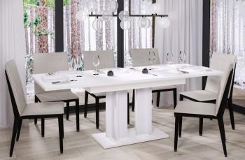 Rozkładany stół do jadalni w kolorze białym matowym Aurora 210