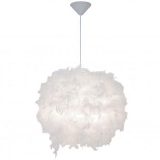 Biała lampa wisząca z piórkami Manito