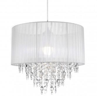 Biała lampa z abażurem i kryształkami Evora 40