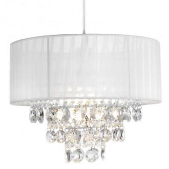 Wisząca lampa z białym kloszem i kryształami Guarda 30