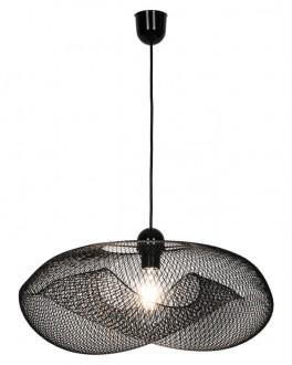 Czarna lampa z szerokim kloszem drucianym Alice