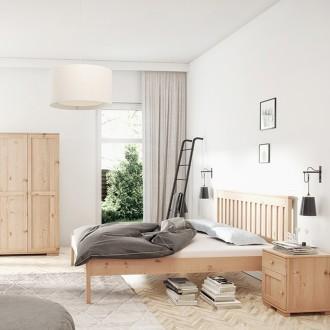 Drewniane łóżko do sypialni z wysokim zagłówkiem Gres