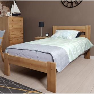 Sosnowe łóżko do sypialni z wezgłowiem Aron