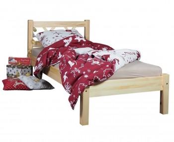 Klasyczne sosnowe łóżko do sypialni z zagłówkiem Modern