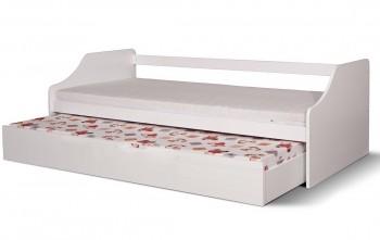 Białe sosnowe łóżko z dodatkowym spaniem Felix