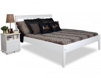 Drewniane łóżko do sypialni z wezgłowiem Porto