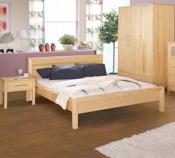 Sosnowe łóżko do sypialni z wezgłowiem Prestige