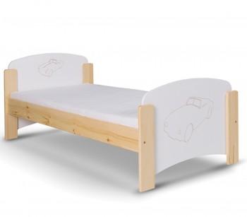 Łóżko dziecięce z grawerem w kształcie samochodu Staś