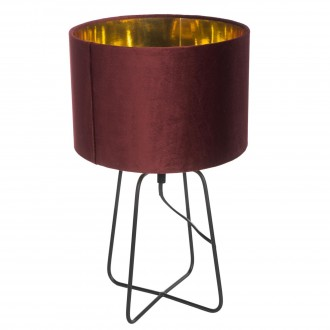 Lampa stołowa z welurowym kloszem na czarnej podstawie Velte