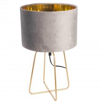 Lampa stołowa z welurowym kloszem na złotej podstawie Velte