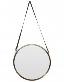 Okrągłe lusterko wiszące na skórzanym pasku Hang